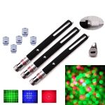 Alina 3 Pack 50mW RGB Laser Pens Built-in Batteries Come with 5 Lenses